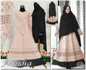 Baju Muslim Wanita Dengan Ukuran Besar Aiesha Black Bahan Maxmara