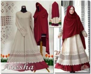 Baju Muslim Wanita Dengan Ukuran Besar Aiesha Maroon Bahan Maxmara