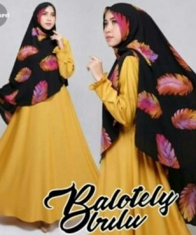 Baju Muslim Wanita Modis Bulu Syar'i Yellow Bahan Baloteli