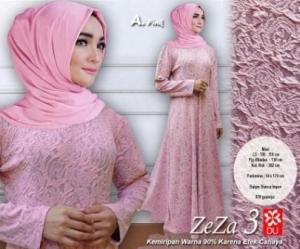 Baju Muslim Wanita Murah Zeza 3 warna Pink Bahan Bianca Impor