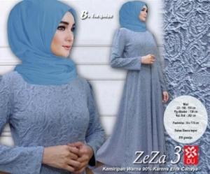 Baju Muslim Wanita Murah Zeza 3 warna Turquise Bahan Bianca Impor