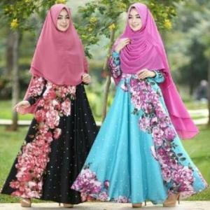 Busana Muslim Lebaran Farzana Hitam Biru Bahan Maxmara