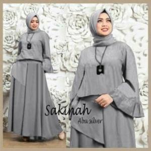 Busana Muslim Modern Cantik Sakinah Set Warna Grey Bahan Waffle