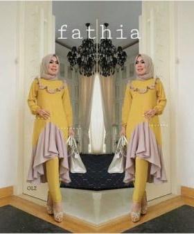 Busana Muslim Modern Fathia Set warna Mustard Dengan Bahan Crepe
