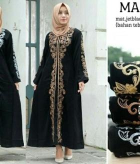 Busana Muslim Modern Madina Syar'i Bahan Jetblack Impor