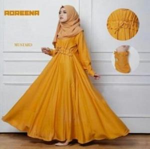 Busana Muslim Murah Dan Elegan Andreena Mustard Dengan Bahan Baloteli
