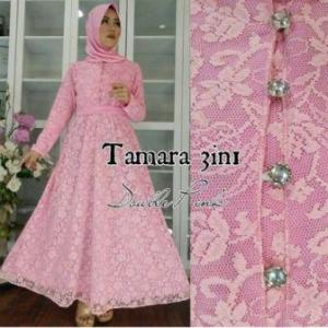 Busana Muslim Pesta Ukuran Kecil Tamara 3 In 1 warna Pink Bahan Brukat Terbaru