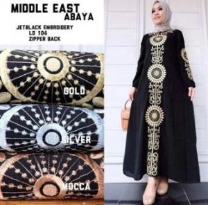 Busana Muslim Terbaru Abaya Dengan Aplikasi Bordir