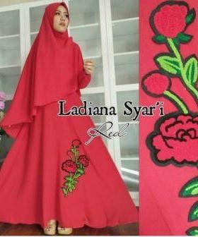 Busana Muslim Wanita Ladiana Syar'i warna maron Bahan Woolpeach