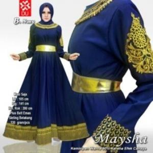 Busana Muslim Wanita Maysha Warna Navy Bahan Baloteli
