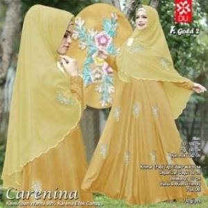 Gamis CAntik Carenina Syar'i Warna Gold Untuk Lebaran Bahan Woolpeach