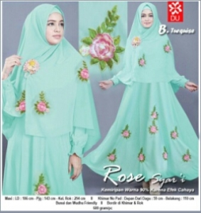 Gamis Cantik Anggun Dan Elegn Rose Syar'i Turquise Bahan Baloteli