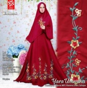Gamis Cantik Elegan Yara Syar'i Merah Bahan Woolpeach