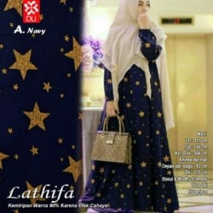 Gamis Cantik Kekinian Lathifa Syar'i Motif Bintang Navy Bahan Crepe