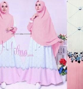Gamis Lebaran 2017 Hilma Syar'i Pink Bahan Woolpeach