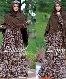 Gamis Lebaran Modis Leopard Syar'i Monalisa Bahan Maxmara