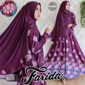 Gamis Murah Farida Syar'i Warna Purple Bahan Waffle