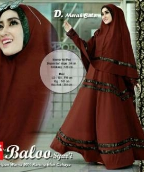 Gamis Murah Terkini Baloo Syar'i Warna Merah Bata Bahan Spandex Jersey Lapis Furing