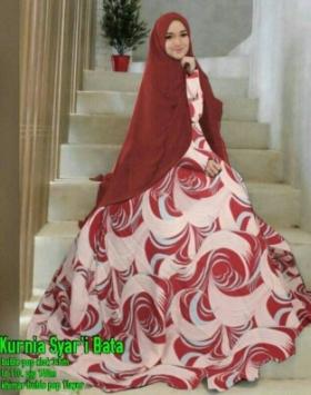 Gamis Muslimah Anggun Kurnia Syar'i Maroon Bahan Bubble Pop