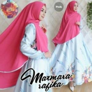 Gamis Muslimah Cantik Rabika Syar'i Warna Pink Bahan Maxmara