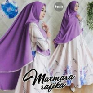 Gamis Muslimah Cantik Rabika Syar'i Warna Ungu Bahan Maxmara