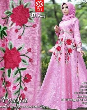 Gamis Premium Ayana Pink Bahan Jacquard