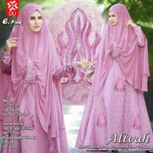 Gamis Premium Terbaru Alivah Syar'i Pink Bahan Jacquard