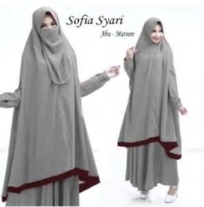 Gamis Sofia Syar'i Warna Abu Online Terbaru Bahan Wafel