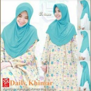 Jilbab Terbaru Cantik Daily Khimar Warna Tosca Bahan Spandex Jersey