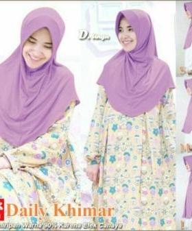 Jilbab Terbaru Cantik Daily Khimar Warna Ungu Bahan Spandex Jersey