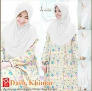 Jilbab Terbaru Cantik Daily Khimar warna Putih Bahan Spandex Jersey