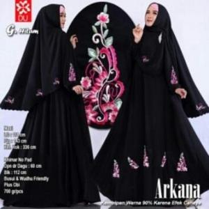 Baju Gamis Cantik Arkana Warna Hitam Dengan Bahan woolpeach