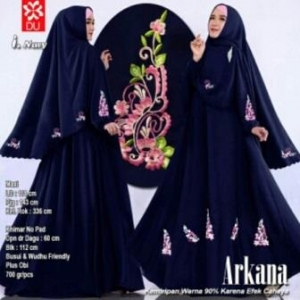 Baju Gamis Cantik Arkana Warna Navy Dengan Bahan woolpeach