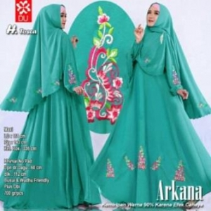Baju Gamis Cantik Arkana Warna Tosca Dengan Bahan woolpeach