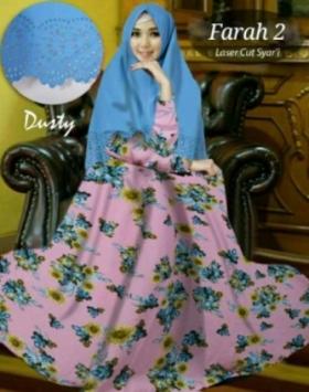 Baju Gamis Cantik Farah 2 Syar'i Warna Dusty Bahan Bubblepop