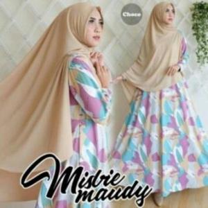 Baju Gamis Cantik Maudy Syar'i Warna Choco Bahan Misbie