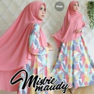 Baju Gamis Cantik Maudy Syar'i Warna Pink Bahan Misbie