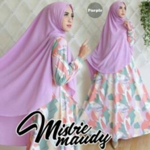 Baju Gamis Cantik Maudy Syar'i Warna Purple Bahan Misbie