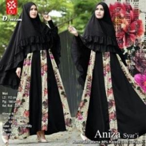 Baju Gamis Pesta Anggun Aniza Syar'i warna Hitam Bahan Wookpeach