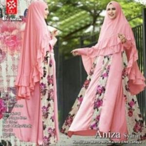 Baju Gamis Pesta Anggun Aniza Syar'i warna Salem bahan woolpeach
