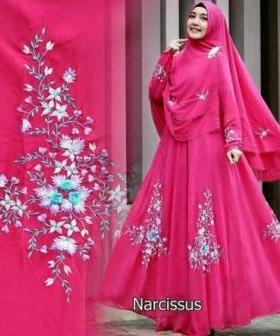 Baju Gamis Pesta Cantik Narcissus Syar'i warna Fanta Bahan Ceruty