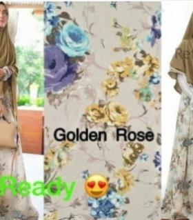 Baju Gamis Terbaru Dan Elegan Golden Rose Bahan Monalisa