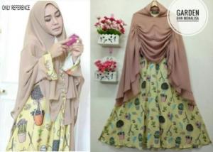 Baju Gamis Terbaru Garden Syar'i Bahan Monalisa