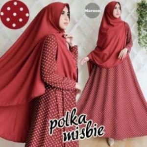 Baju Gamis Terbaru Polka Syar'i Warna Maroon Bahan Misbie