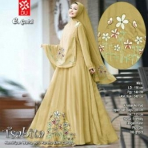 Baju Muslim Terbaru Untuk Wanita Tsabita Syar'i Warna Gold Bahan Woolpeach
