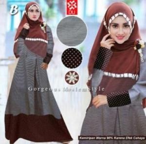 Baju Muslim WAnita Divaa Syar'i warna Salur Bahan Katun