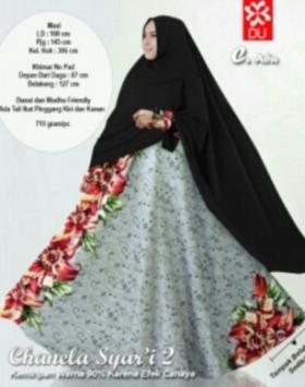 Baju Muslim Wanita Angun Chanela Syar'i warna Abu Ukuran Besar Bahan Baloteli