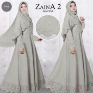 Baju Muslim Wanita Cantik Zaina 2 Syar'i warna Abu Bahan Bubblepop