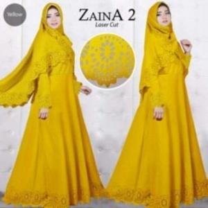 Baju Muslim Wanita Cantik Zaina 2 Syar'i warna Kuning Bahan Bubblepop