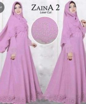 Baju Muslim Wanita Cantik Zaina 2 Syar'i warna Violet Bahan Bubblepop